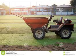 Orange Truck With Tools On Artificial Grass On Soccer Field Stock ...