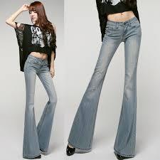 Spring Fall Vintage Fashion Designer Women Low Waist Ripped Flare Denim Pants Female Ladies Rhinestone Skinny