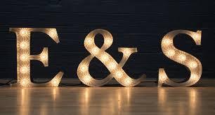 serif bulb letters lighting light letters wedding
