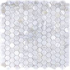 river bed nature pearl shell mosaic 12 x 12 white hexagon pearl