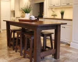 Rustic Farmhouse Bar Island Table With 6 Barstools