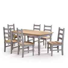 100 6 Chairs For Dining Room Manhattan Comfort Jay 7Piece Gray Wash Solid Wood Set With