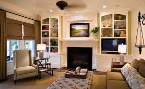 built ins around fireplace living room traditional with all time
