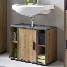 bad adria waschbecken unterschrank 65 cm breit mit 1 tür und 4 fächern korpus alteiche dekor absatz graphit
