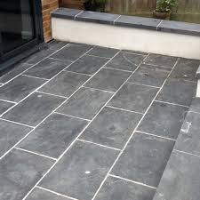 slate patio tiles treated for grout haze and sealed in brackley