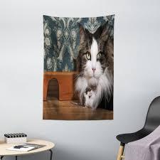 wandteppich wohnzimmer schlafzimmer wandtuch seidiges satin wandteppich abakuhaus rechteckig katz und maus real photo of animals kaufen