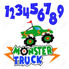 100 Monster Truck Kids Number Birthday Design Royalty Free Cliparts