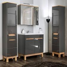 badmöbel set mit 80cm waschtisch spiegelschrank solna 56 in hochglanz grau mit eiche b h t ca 180 200 46 cm