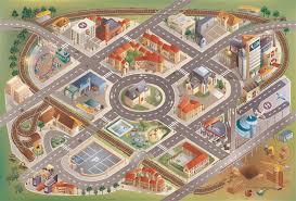 tapis de jeux voitures tapis de jeu intérieur la ville 150x100cm
