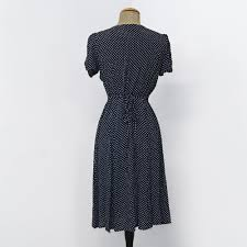 retro style navy u0026 white polka dot knee length rita dress french