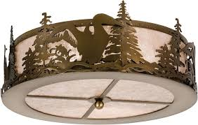 Incredible Meyda Tiffany 24469 Loon Rustic Antique Copper Silver Mica With Regard To Ceiling Light