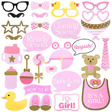 Tinksky 29pcs Baby Shower Photo Props Baby Bottle Masks Pink Photobooth Props Newborn Girl Gift Party Decorations