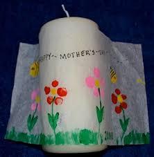 Mothers Day Craft Fingerprint Art Candles