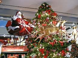 Santa Claus Flying Deer By Tree Macys