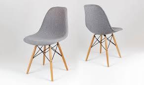 chaise design cuisine chaise tapissée design gris chiné avec pied en bois et métal confort
