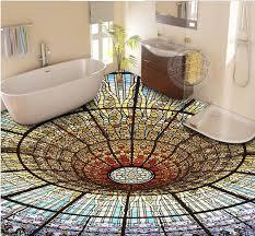 Custom Luxury Lighted Floor Tiles Wallpaper Colorful 3 D Vinyl Flooring Wallpapers For Living Room 3d