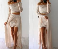 two piece long sleeve lace evening prom dresses lace height low