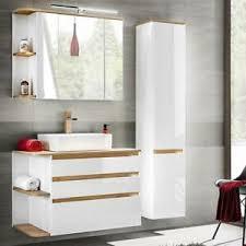 badmöbel badezimmer set weiß keramik waschtisch led