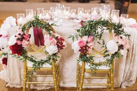 Gold Chairs Floral Wreaths Sweetheart Table Red Pink White Flowers Pelican Hill Wedding Resort Bold
