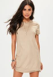 beige faux suede t shirt dress missguided