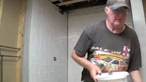 diy basement bathroom part 6 installing tile board