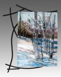 Fused Glass Wall Art With Welded Steel Frame