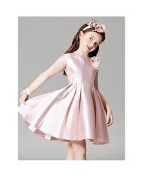 light pink folded satin short pageant dress for little girls