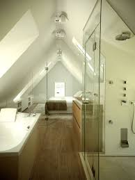 Renovated Belgian Farm House Glass Enclosed Bathroom Under Eaves