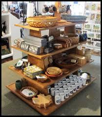Rustic Wood Retail Gondola Display Fixture Handmade Customizable Storage And Sales