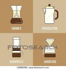 Clipart Of Coffee Brewing Methods Icons Set Chemex Percolator