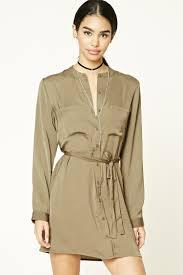 satin button front shirt dress forever21