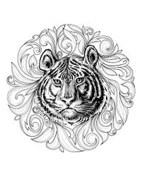 Tiger Head In Middle Of A Superb Framework Made Leaves
