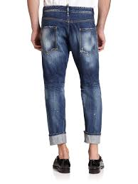 dsquared workwear leather patch jeans in blue for men lyst