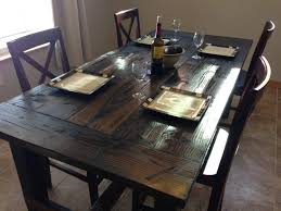 Dining Tables Farm Style Room Rustic Table Set Made From Wood With Black Color