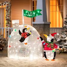 penguins decorating igloo outdoor christmas decoration