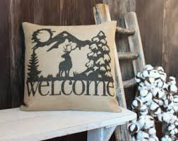 Rustic Style Elk Welcome Burlap Throw Pillow W And Mountains For Cabin Hunting Lodge