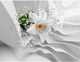 fototapeten 396 x 280 cm blumen 3d lilien vlies wanddekoration wohnzimmer schlafzimmer deutsche manufaktur weiss 9179012a