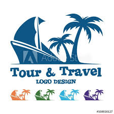 Tour And Travel Logo Traditional Ship Palm Design Vector