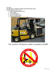 100 Powered Industrial Truck ForkLift Safety Standard Operational Procedures DocSharetips