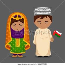 People In National Dress With A Flag Vector Flat Illustration