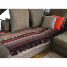 jetés de canapé jetée de canapé coton inca chocolat orange écru 200x240cm pier import