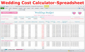 Wedding Costs Calculator Excel Budget Spreadsheet