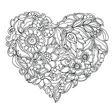 Printable Adult Coloring Pages Flowers And Hearts Download