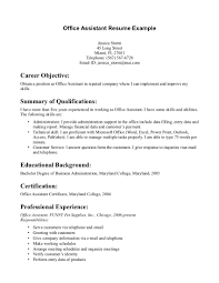 Career Objective Of Obtain Position With Office Assistant Resume Example And Educational Background In Maryland College