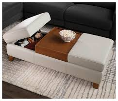 100 Living Room Table Modern Leather Storage Ottoman Furniture Bellevue