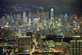 100 Hong Kong Skyscraper Aerial View Of Cityscape With Illuminated Skyscrapers At Dusk Stock Photo