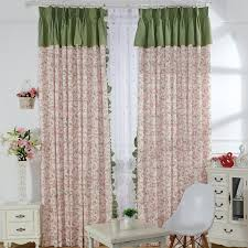 Pale pink curtains with Green Top for Beautiful Home