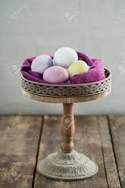 Easter Eggs On Rustic Wooden Cake Stand Stock Photo