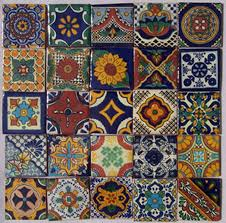 25 painted talavera mexican tiles 2x2