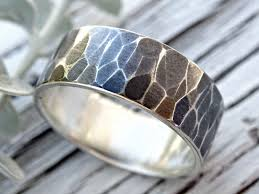 Custom Made Faceted Silver Ring Alternative Mens Wedding Band Rustic Oxidized